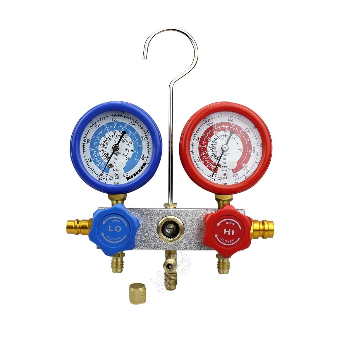 BACOENG 5FT AC Diagnostic Manifold Freon Gauge Set for R22 R134a R12 R410A Refrigerants with Couplers, 3-60'' Hoses and Standard 1/4'' Fittings by BACOENG (Image #3)