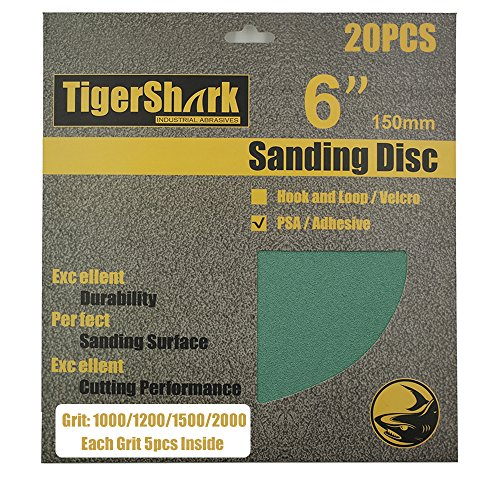 (TigerShark 6inch No Hole 20pcs Film Sanding discs Adhesive back(PSA) Wet & Dry Grit 1000/1200/1500/2000 5 Pcs Each)