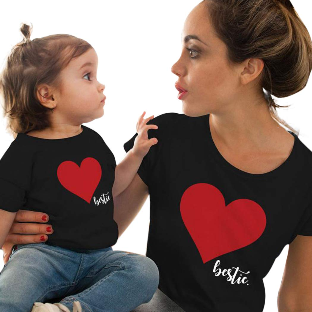 Fanxis Parent-Child T-Shirt for Mother Mother and Kids Girls Casual O-Neck Short Sleeve T-Shirt