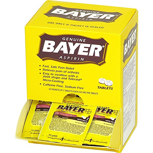 Acme United 12408 Bayer Aspirin Packets 2 Tablets Per Pack 50/BX