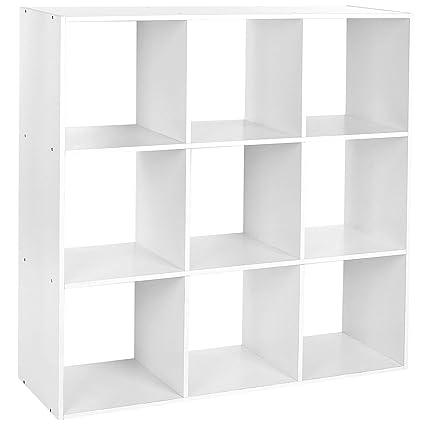 Cubi Di Legno Scaffale.Homfa Libreria Mobile Per Archiviazione Con Mensola In Legno Scaffale Cubo Per Libri Cd Pianti Modelli Bianco 9 Cubi