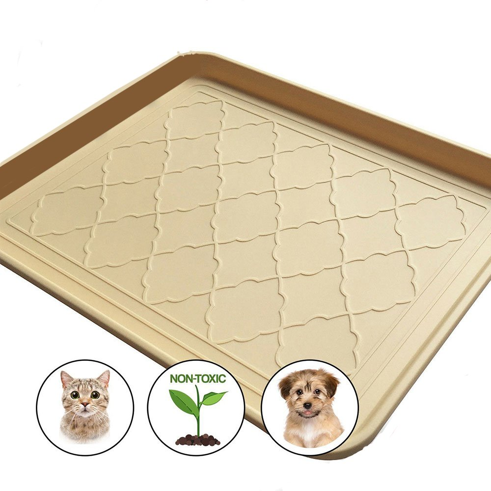 Easyology Premium Pet Food Tray Dog Food Mat and Cat Food Mat with Non Skid Design Best Pet Bowl Mat for Containing Spills and as Pet Food Mat Feeding Mat Shoe Tray Boot Tray 17.5'' x 14''
