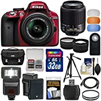 Nikon D3300 Digital SLR Camera & 18-55mm VR DX II (Red) + 55-200mm DX AF-S Lens + 32GB Card + Battery + Case + Tripod + Flash + Tele/Wide Lens Kit Key Pieces Review Image
