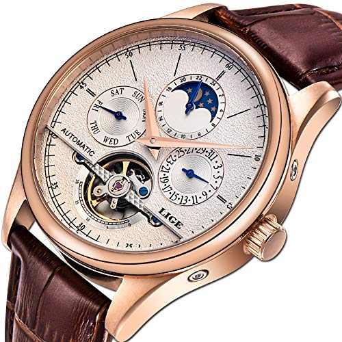 LIGE Waterproof Mens Watches Business Calendar Mechanical EEN Watch Automatic Gold White Leather Strap Wristwatch ()