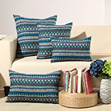 "MochoHome Cotton/Linen Blend Chevron Square Decorative Throw Pillow Cover Case Pillowcase Cushion Sham - 26"" x 26"", Blue"