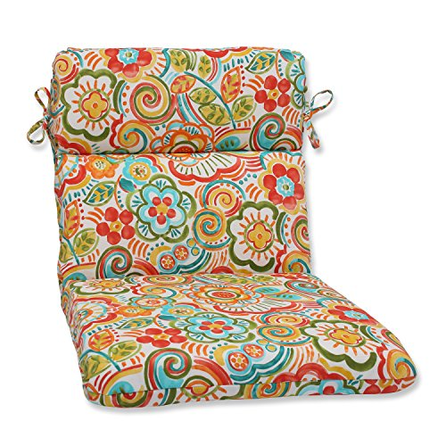 Pillow Perfect Outdoor Bronwood Carnival Rounded Corners Chair Cushion, Multicolored