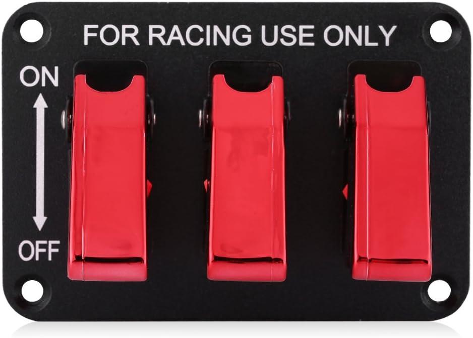Aramox Interrupteur /à bascule 12V 3 Groupe Interrupteur /à bascule pour voiture de course rouge