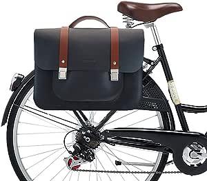 Alforjas Bicicleta - Bolso para Bicicleta - Alforja para Bicicleta - Alforjas para portaequipajes de Bicicleta - Alforja Bicicleta Trasera Cuero - Cuero - 38/28/10 cm (Azul): Amazon.es: Equipaje
