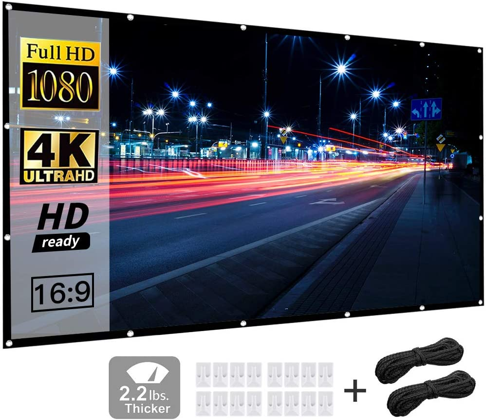 Projector Screen 120 inch 16:9 HD Home Theater Outdoor Indoor Support Double Sided Projection, Foldable Anti-Crease Portable Projector Movies Screen by Funcilit 【Premium Quality, NOT Same as Others】