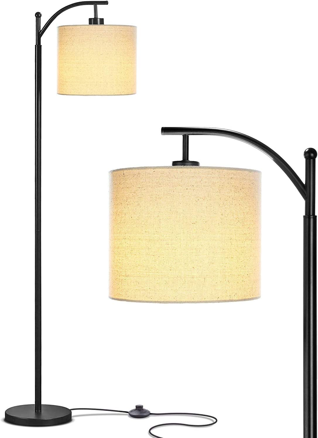 Bedroom Living Room LED Floor Lamp – Standing Industrial Arc Light with Hanging Lamp Shade, Tall Pole Uplight for Office, by Elumaxon