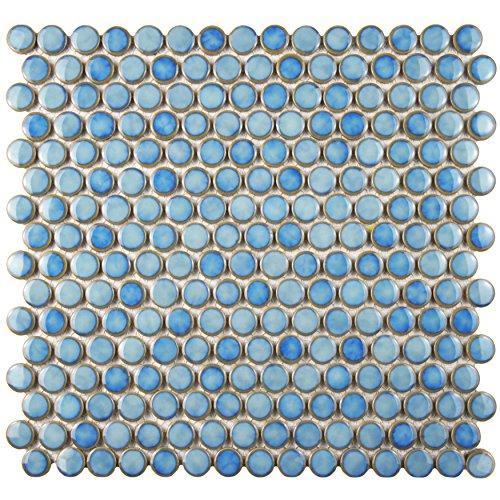 Somertile fkompr33 penny porcelain mosaic floor and wall for 12 x 12 blue ceramic floor tile