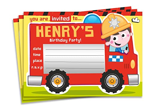 20 Childrens Personalised Birthday Party Invitations Fire Engine – Fire Engine Party Invitations