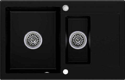 avec siphon automatique Noir 1 bac /Évier granit Primagran /évier de cuisine