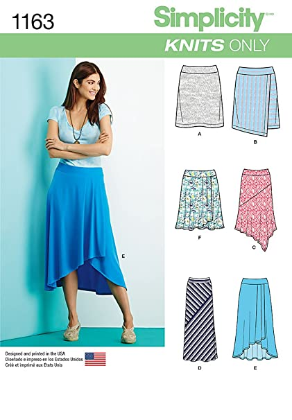 Amazon Simplicity Knits Only Pattern 1163 Misses Knit Skirts