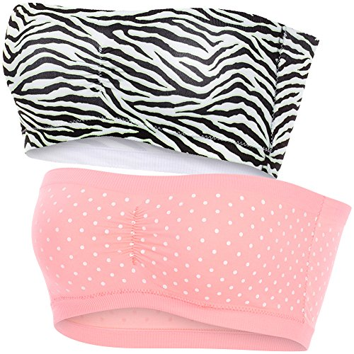 Women's Strapless Fun Padded Bandeau Bra Seamless Stretch Tube Top, 2 Pack Set,Small / Medium,Pink White Polka Dot & Zebra (Polka Dot Bandeau Top)
