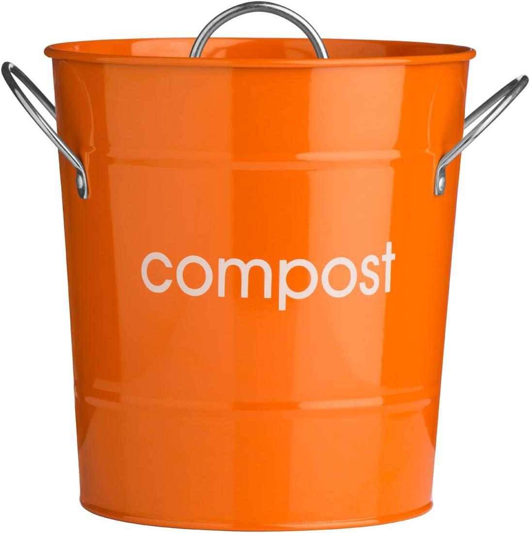 Color naranja de acero galvanizado para compostaje con cubo interior de plástico: Amazon.es: Hogar