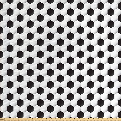 [Sports Decor Fabric by the Yard by Ambesonne, Soccer Ball Pattern Athletic Sport themed Geometric Modern Artistic Design , Decorative Fabric for Upholstery and Home Accents] (Quick Change Costume Pattern)