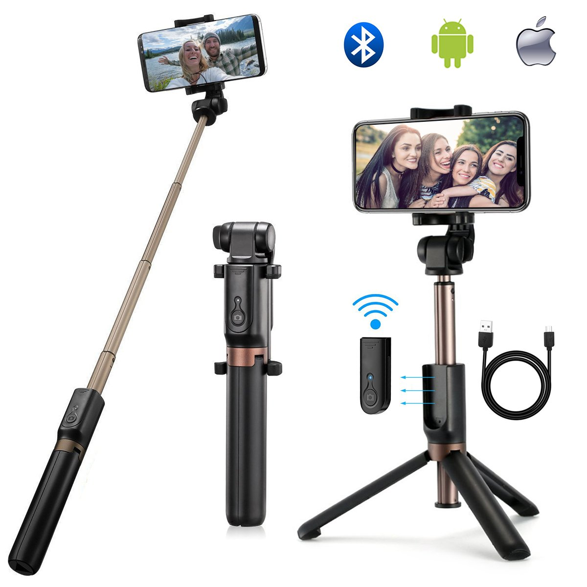 Bluetooth Selfie Stick Extendable Selfie Stick with Wireless Remote and Tripod Stand 360 Degree Rotation Mini Selfie Stick for iPhone x 8 6 7 plus Android Samsung Galaxy and More