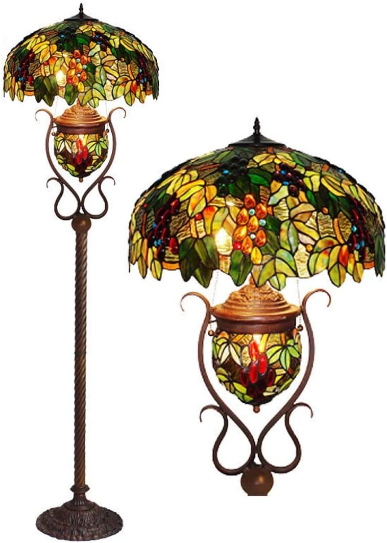 20 Inches Tiffany Style Floor Lamp with Night Light, Stained