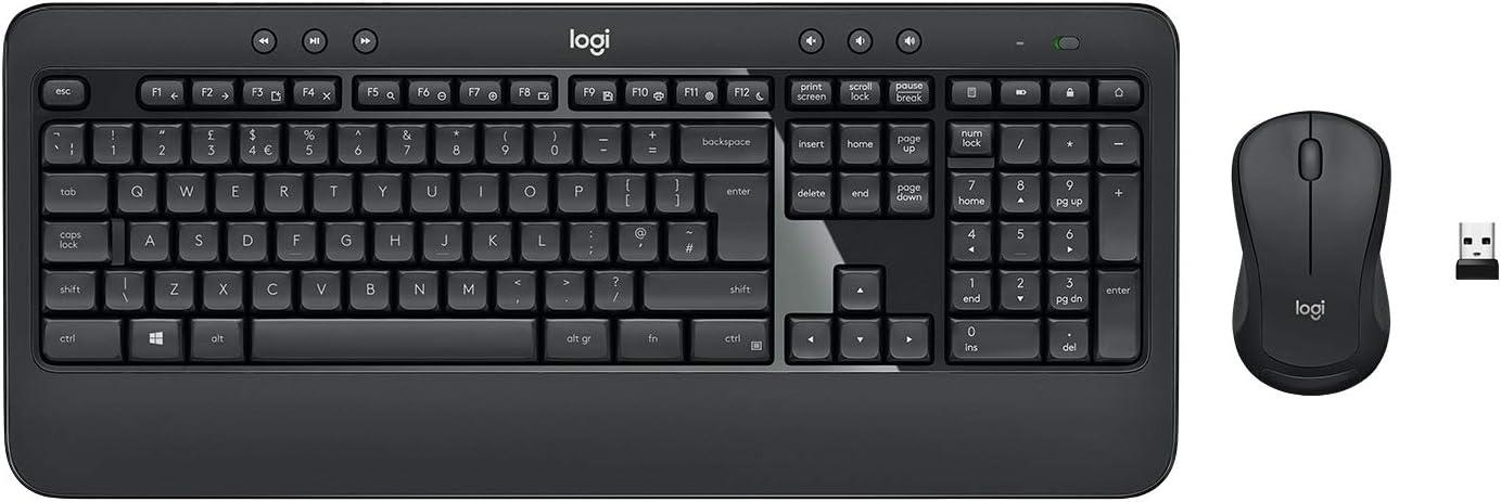 Logitech MK540 Pack Inalámbrico Teclado y Ratón para Windows, 2,4 GHz con Receptor USB Unifying, Teclas Multimedia, Batería de 3 Años, PC/Portátil, Disposición QWERTY Español, color Negro