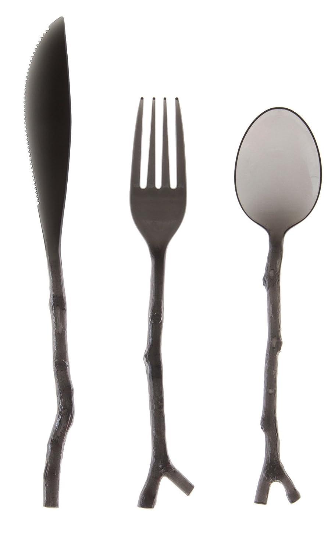 Amazon.com: 0134182 12 Conde Madhouse translúcido surtidos Ramita Diseño Cubiertos, Negro: Home & Kitchen