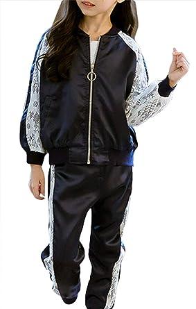 La vogue Niña Chaqueta Universitaria y Pantalones Sudadera Béisbol Jacket Casual: Amazon.es: Ropa y accesorios