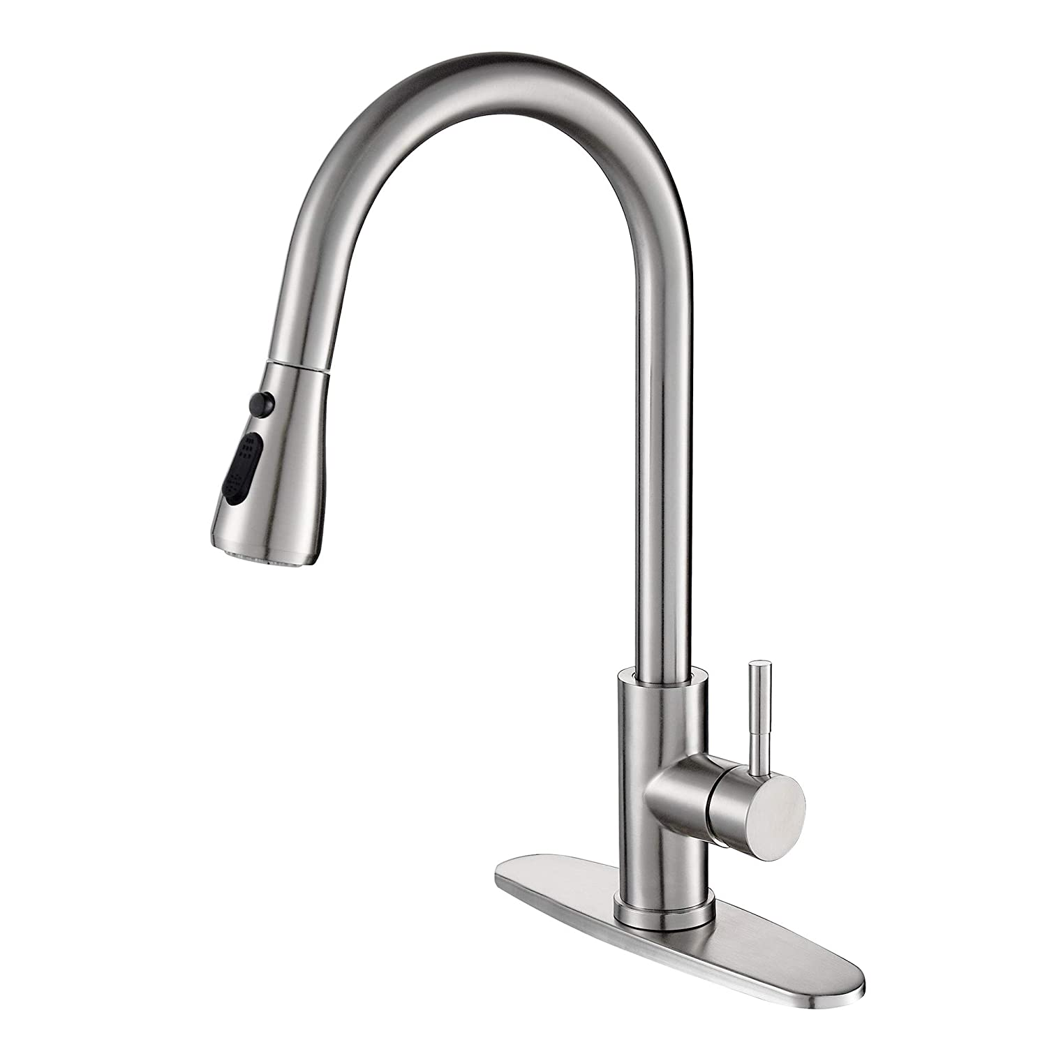 Kitchen Faucet Single Handle High Arc Faucet with Pull Down Sprayer, Naturous Single Level Stainless Steel Kitchen Sink Faucets with Pull Down Sprayer,Brushed Nickel