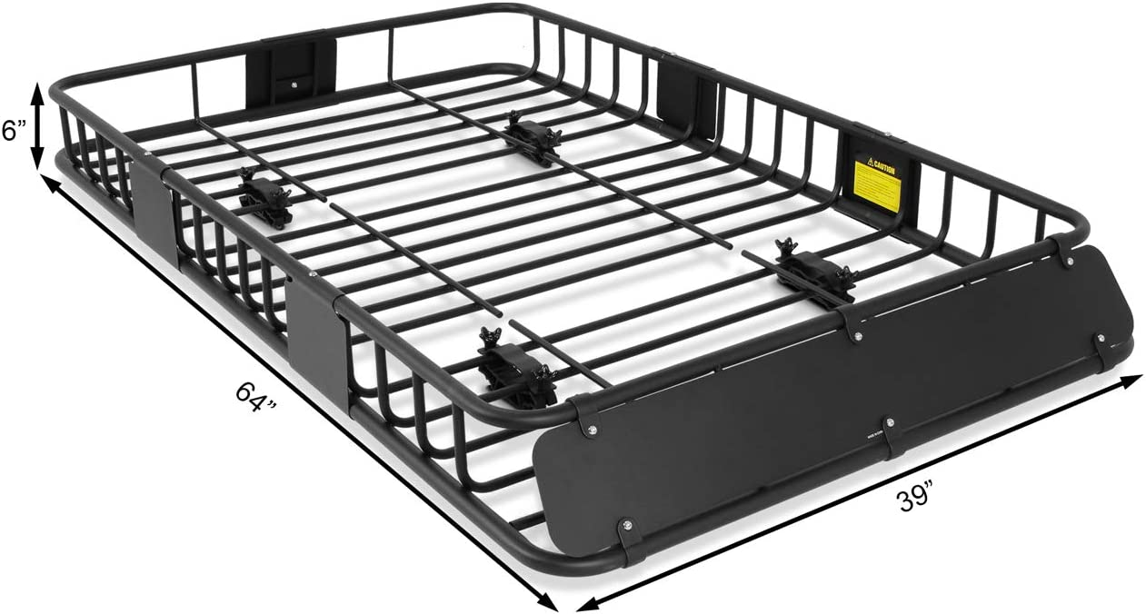 ARKSEN 84x 39x 6 Universal Roof Rack Cargo Extension Car Top Luggage Holder Carrier Basket SUV Camping Black