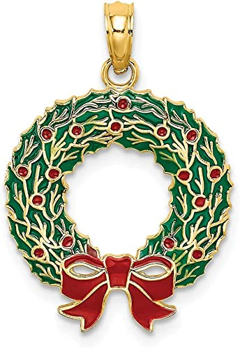 14K Yellow Gold Enameled Christmas Ornament Pendant