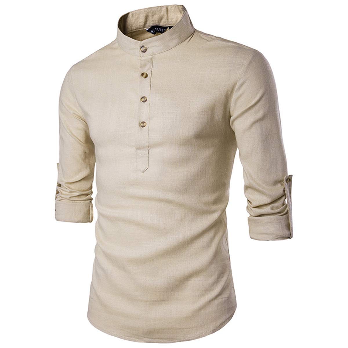 Baby Room Mens Casual Solid Color Roll-up Sleeve Linen Shirts