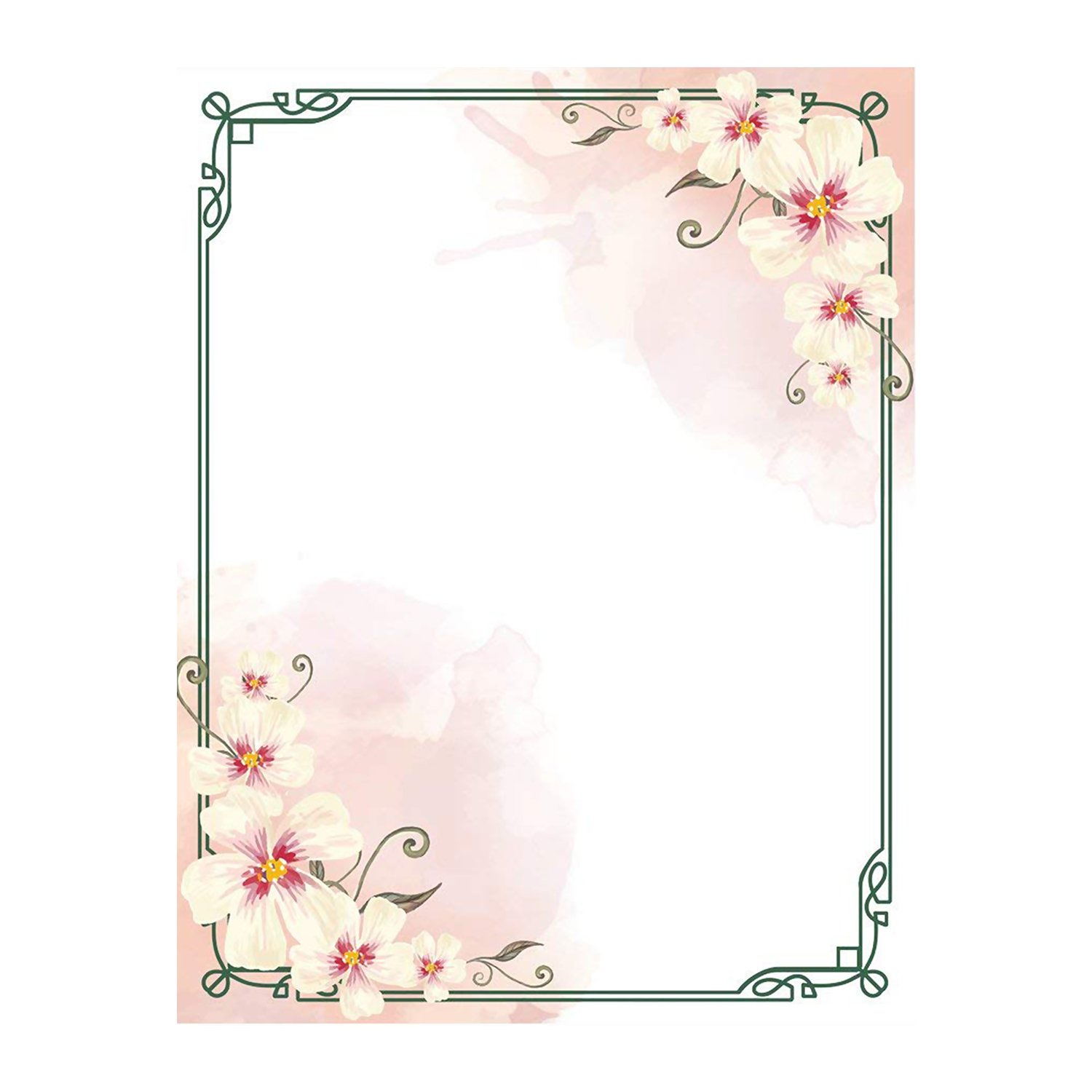 100 Stationery Writing Paper, with Cute Floral Designs Perfect for Notes or Letter Writing - White Orchids
