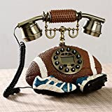 HomJo Creative ball shape Button Telephone Vintage Antique Style Resin metal Corded Telephone Home Living Room Decor