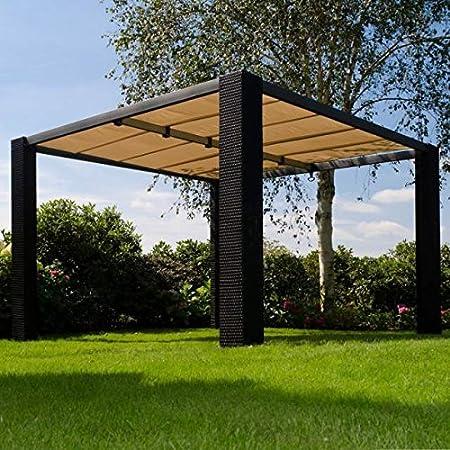 Gazebo marrón Rattan Pergola Cubierta Tejado deslizante Ecru 3, 5 x 3, 5 Mt: Amazon.es: Jardín
