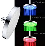 High Pressure Shower Head LED Wall Mount Rainfall Chrome Changes Automatically According to Water Temperature LED Adjustable Swivel Ball Joint the Best Relaxation and Spa