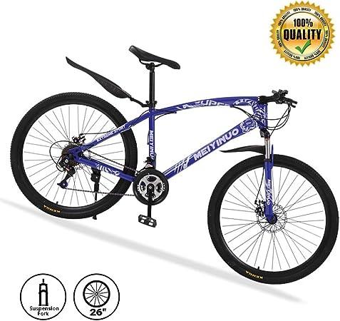 M-TOP 26 24 Velocidades Bicicleta de montaña Delantero Suspension, Bicicleta de Carretera para Mujer/Hombre, Doble Frenos Disco, Mountain Bike de Carbon Acero,Azul,30 Spokes: Amazon.es: Hogar