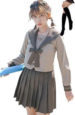 New Japanese School Students Kawaii Sailor Dress Women Long Sleeves JK Uniform