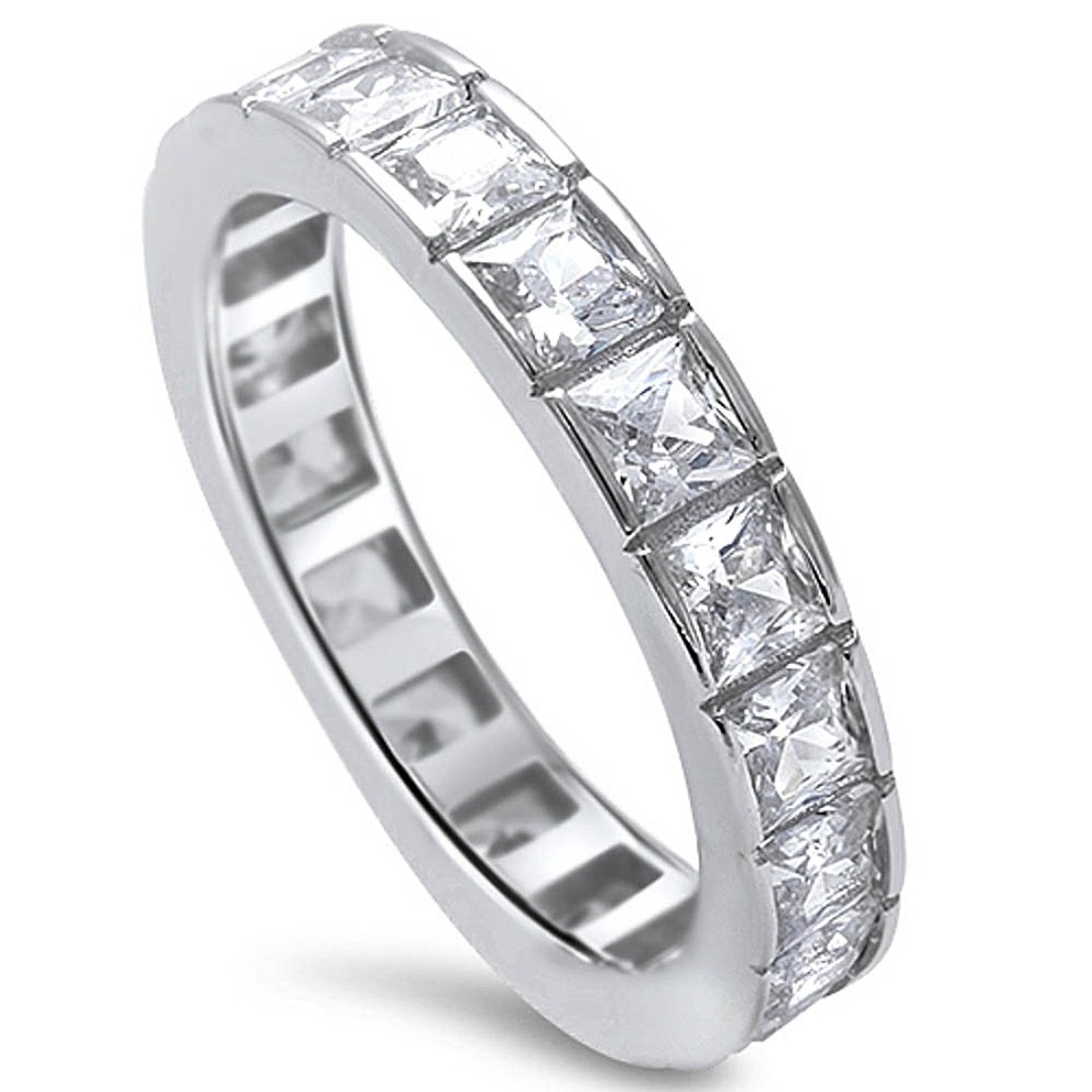 4mm Full Eternity Stackable Band Ring Princess Cut Square Invisible Cubic Zirconia 925 Sterling Silver