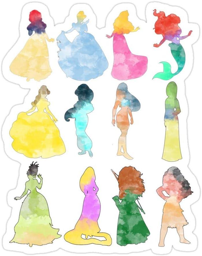PRINTFIT (3 PCs/Pack) Princesses Watercolor 3x4 Inch Die-Cut Stickers Decals for Laptop Book Car Bumper Helmet Water Bottle