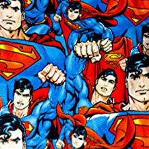 """Overlapping Superman Anti Pill Premium Fleece Fabric, 60"""" Inches Wide – Sold By The Yard (FB)"""