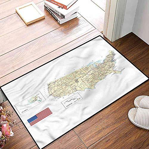 NineHuiTechnology Place mats USA Detailed Country Map Non-Slip Carpet 20