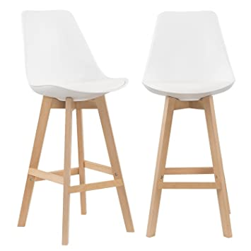Mobilier Deco Lot De 2 Tabourets De Bar Scandinave Blanc Amazon