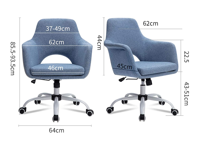 LYJBD svängbar stol, ergonomisk justerbar kontorsstol, tjock sittkudde, sammetstyg för verkställande, formning, spel eller kontor Grått