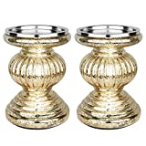 """Runflory S/2 Lit Candle Holder Pedestals, 5.3"""" Handmade Festive Ribbed Mercury Glass Pillar Candle Stand Holder with Micro LED Lights - Home Decor Accessories (Golden)"""