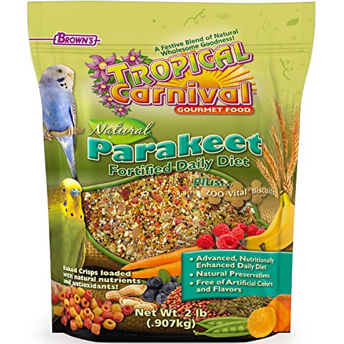F.M. Brown's Tropical Carnival Natural Parakeet Food, 2-lb Bag - Vitamin-Nutrient Fortified Daily Diet with NO Artificial Colors or Flavors