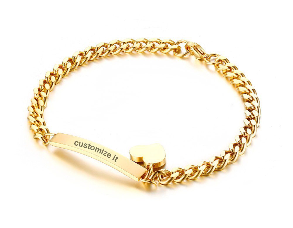 PJ Jewelry Free Engraving-Stainless Steel Thin ID Tag Chain Bracelets with Small Heart Charm for Women,7.8'',Gold Plated
