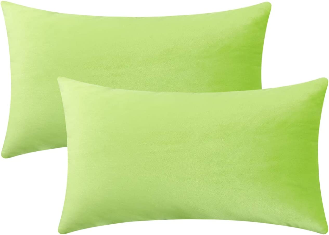 Jeneoo Set of 2 Comfy Soft Velvet Lumbar Throw Pillow Cases for Sofa Couch, Decorative Solid Rectangle Cushion Covers for Bedroom Car (12 x 20 Inches, Lime Green)