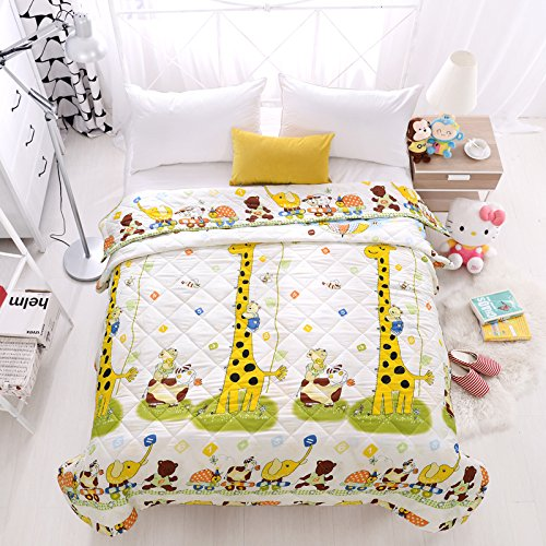 KFZ Summer Quilt Comforter Bedspread for Bed Breathable BDD 4 Sizes With Cartoon Animals Rabbit Giraffe Bear Pretty Flamingo Designs For Children Adult One Piece (Giraffe Bear,Yellow, Queen,79''x91'') by KFZ (Image #4)