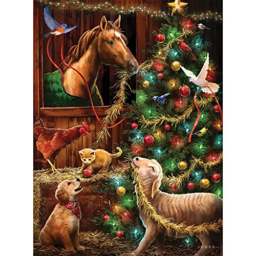 Bits and Pieces - 1000 Piece Glow-in-The-Dark Jigsaw Puzzle for Adults - Christmas Barn - 1000 pc Animals, Christmas, Holiday Jigsaw by Artist Larry Jones