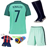 Soccer Kids 2016/2017 Football Soccer European Cup Ronaldo Away Portugal Kids Jersey & Shorts & Socks With Free Key Chain
