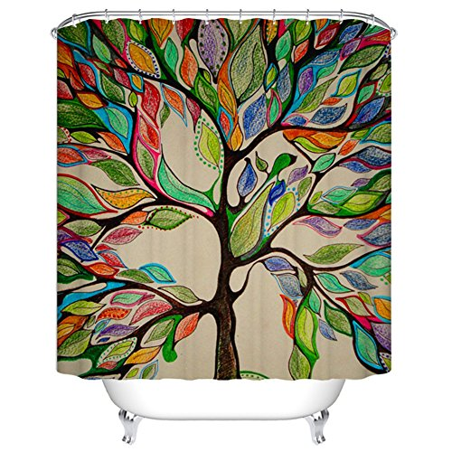 Goodbath Mildew Free Water Repellent 100% Polyester Shower Curtains 66 Inch by 72 Inch, Tree of Life (66)
